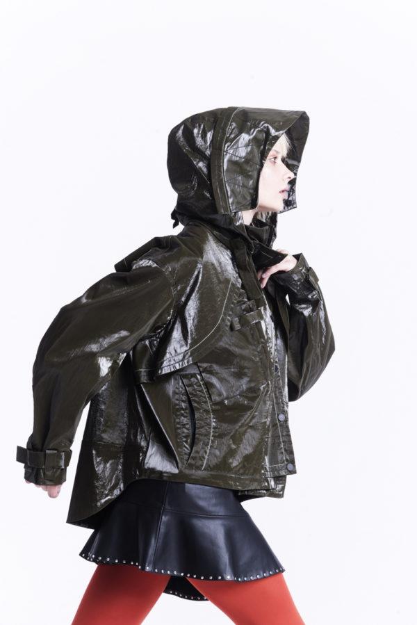 Куртка с капюшоном oversize из плащевой ткани