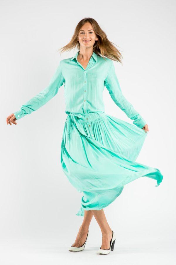 Платье рубашка из бирюзового хлопка