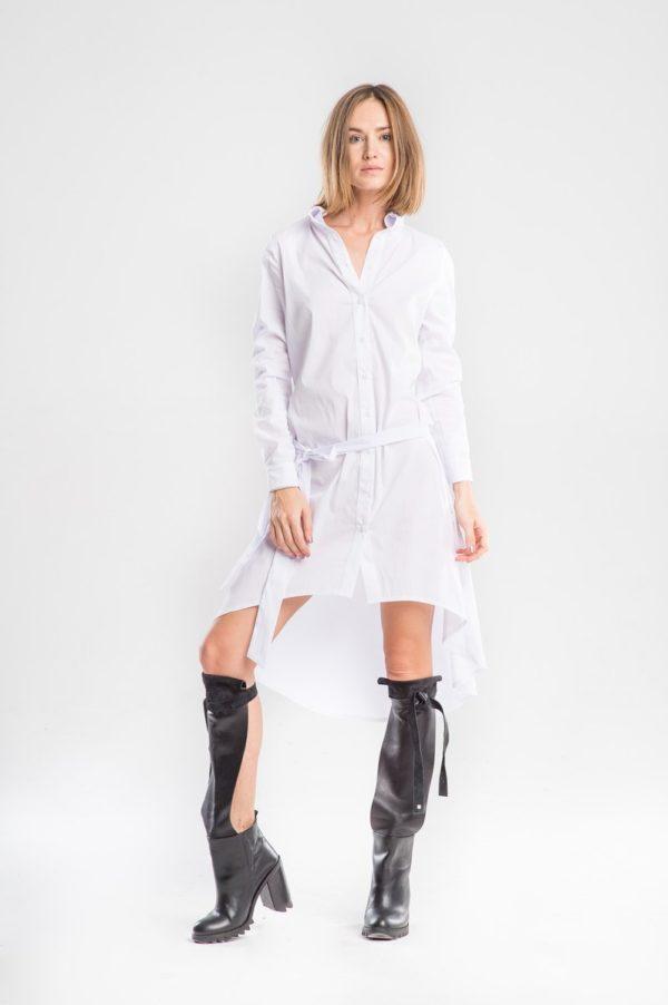 Платье рубашка с подолом белого цвета
