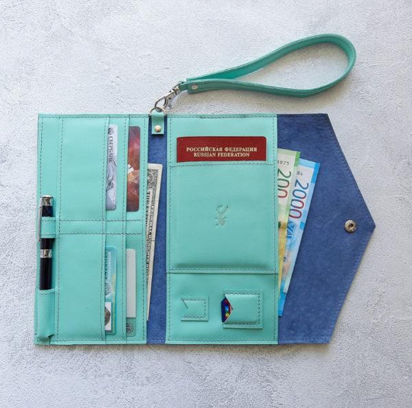 Портмоне TravelHolder - Мятный + синий