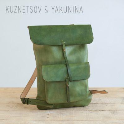 Рюкзак с карманом зеленого цвета