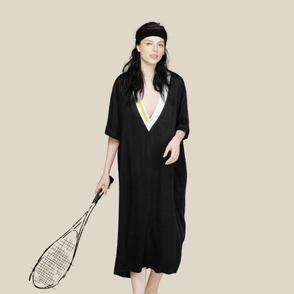 Летнее струящееся платье с яркими полосками черное с желтым