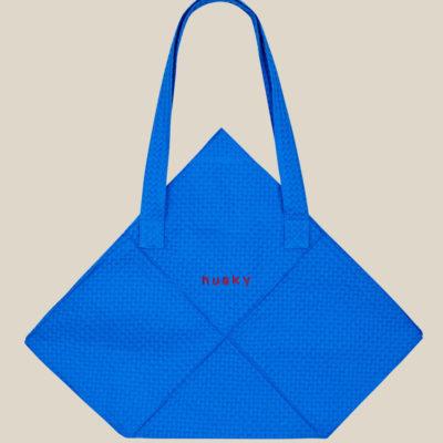 Сумка-оригами из вафельной ткани синяя