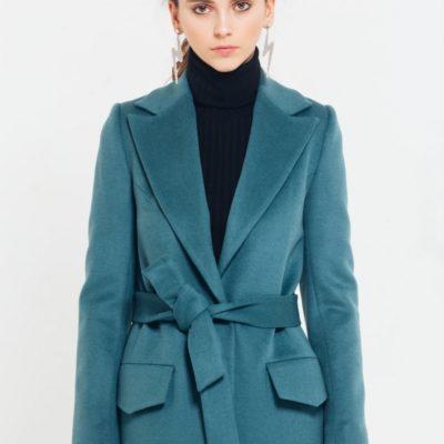 Пальто зеленое