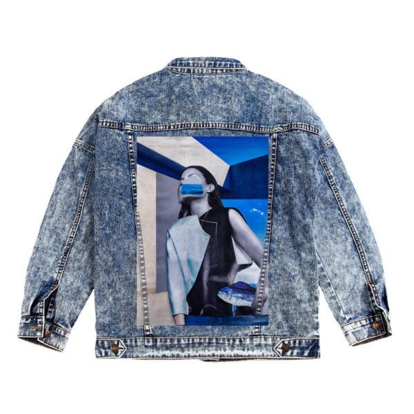 Куртка джинсовая с коллажем рыба