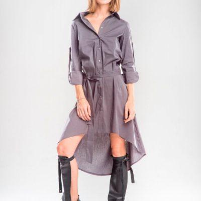 Серое платье-рубашка с подолом