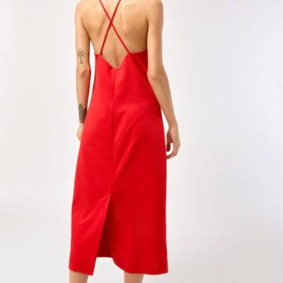 Платье на бретельках красное