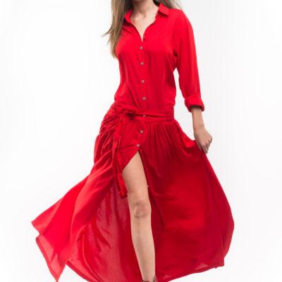 Платье рубашка из хлопка красного цвета