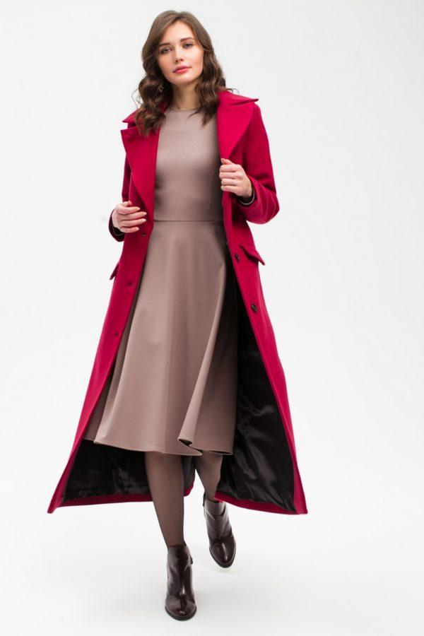 Дизайнерское длинное пальто бордо
