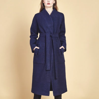 Пальто букле синее
