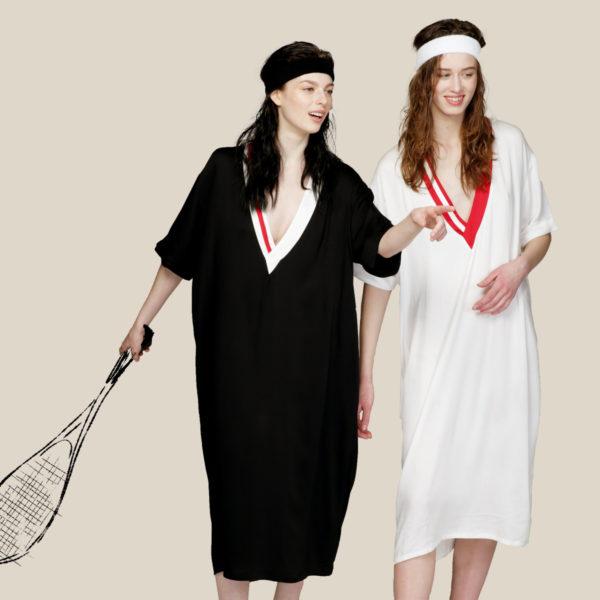 Летнее струящееся платье с яркими полосками белое с красным