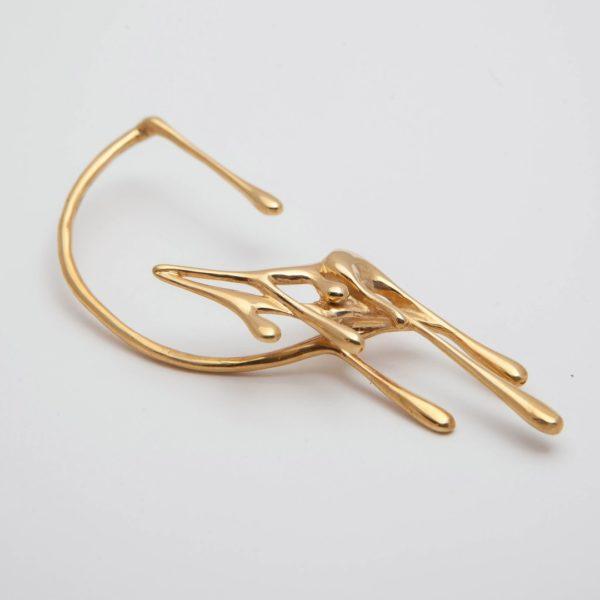 Кафф на правое ухо (серебро 925-й пробы, покрытие золотом)