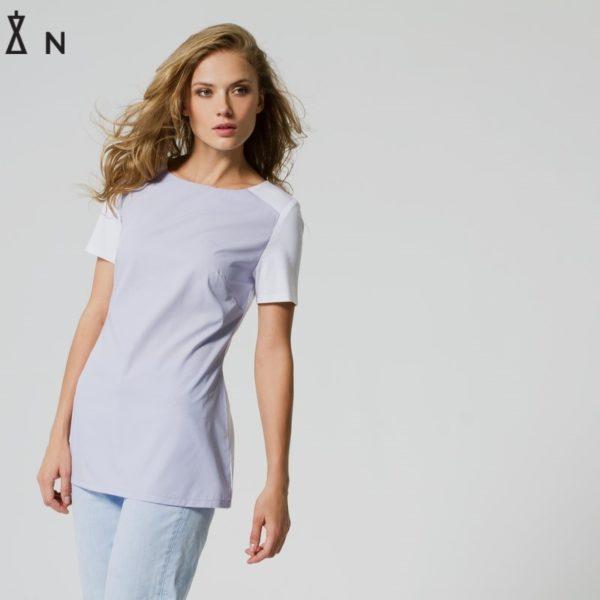Комбинированная футболка фиолетовая