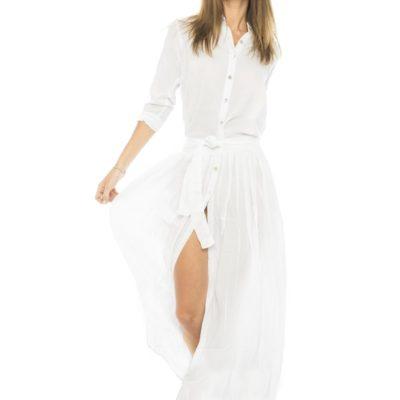 Платье рубашка из белого хлопка