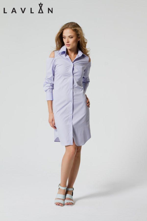 Платье-рубашка без плечей фиолетовое