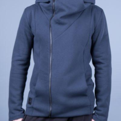 Толстовка синяя c капюшоном и со смещённой молнией