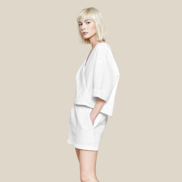 Вафельная блуза-кимоно белая