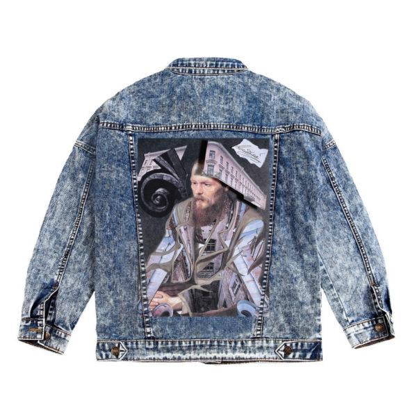 Куртка джинсовая с коллажем Достоевский