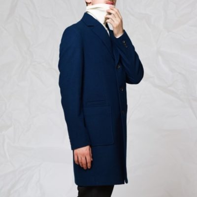 Пальто с накладными карманами: Синий