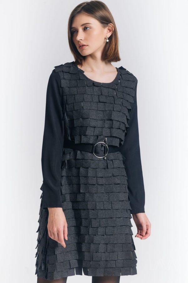 Дизайнерское серое платье