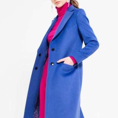 Дизайнерское длинное пальто синее