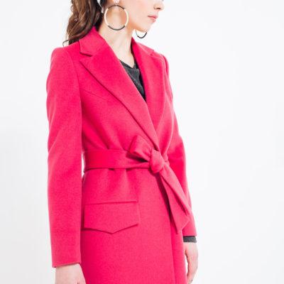 Дизайнерское длинное пальто розовое