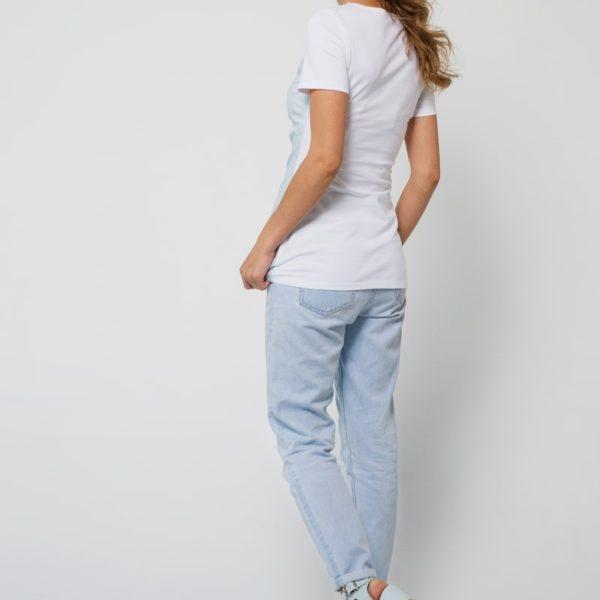 Комбинированная футболка голубая