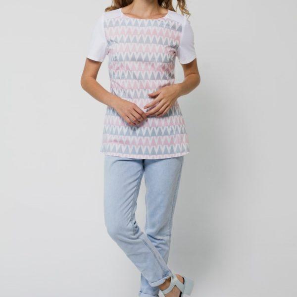Комбинированная футболка с притом серо-розовая