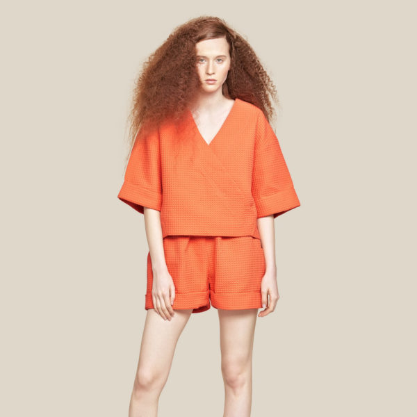 Вафельная блуза-кимоно рыжая