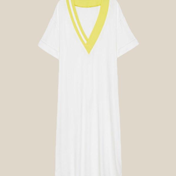 Летнее струящееся платье с яркими полосками белое с желтым
