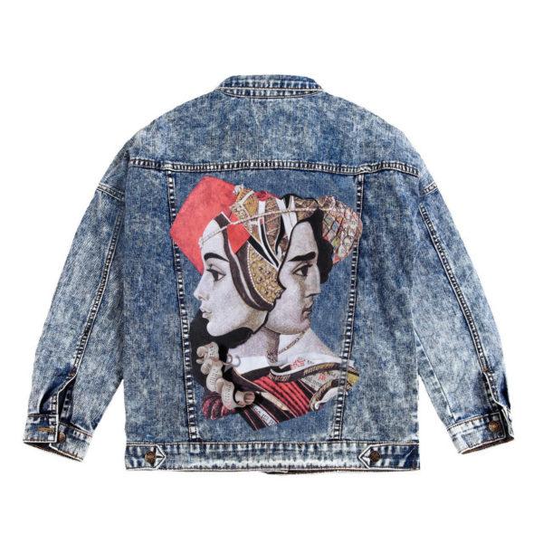 Куртка джинсовая с коллажем Ромео и Джульетта