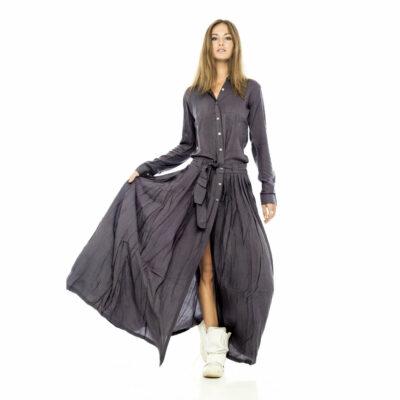 Темно серое платье рубашка