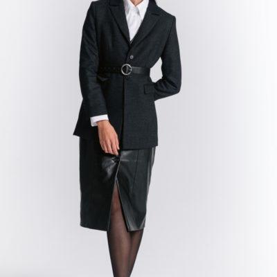 Шерстяной пиджак черный