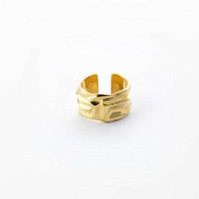 """Незамкнутое кольцо """"Ткань"""" (серебро 925-й пробы, покрытие золотом)"""