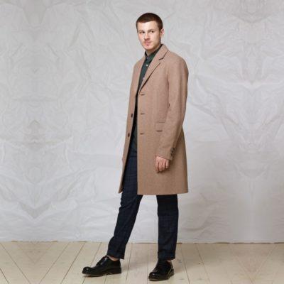 Пальто однобортное: Бежевый
