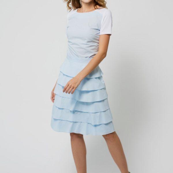 Многослойная юбка голубая