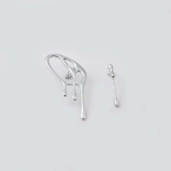 Большие асимметричные серьги Amalgama (серебро 925-й пробы)