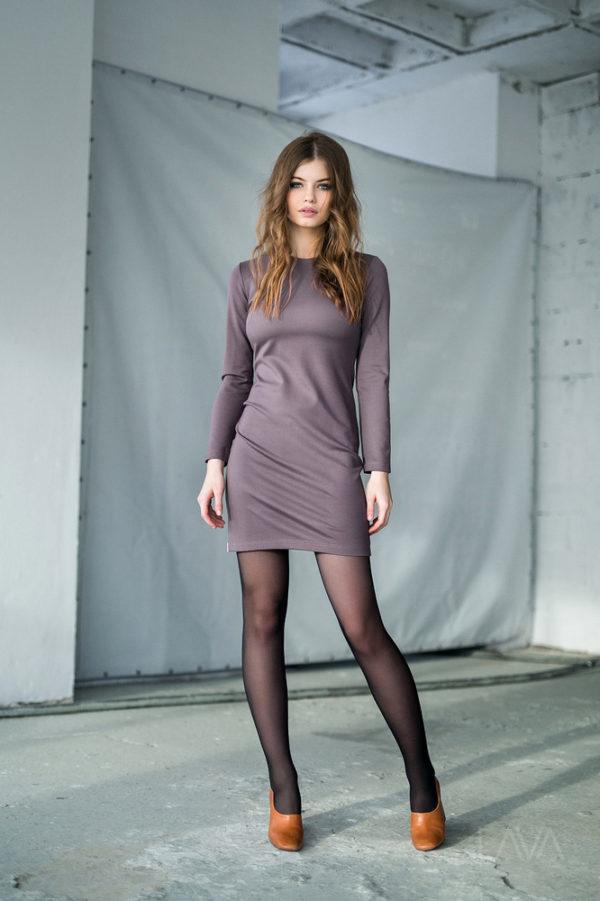 Дизайнерское платье кофе