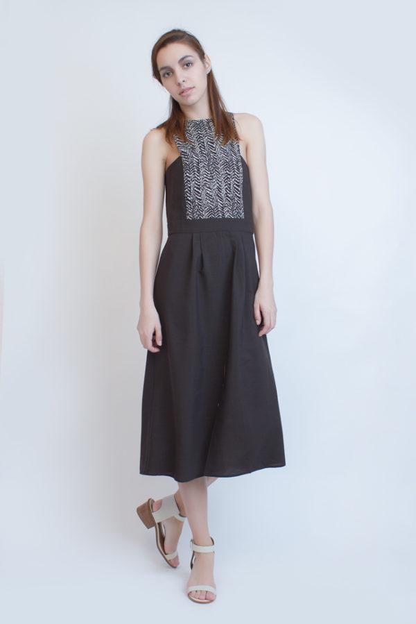 Платье с черно-белым лифом черное