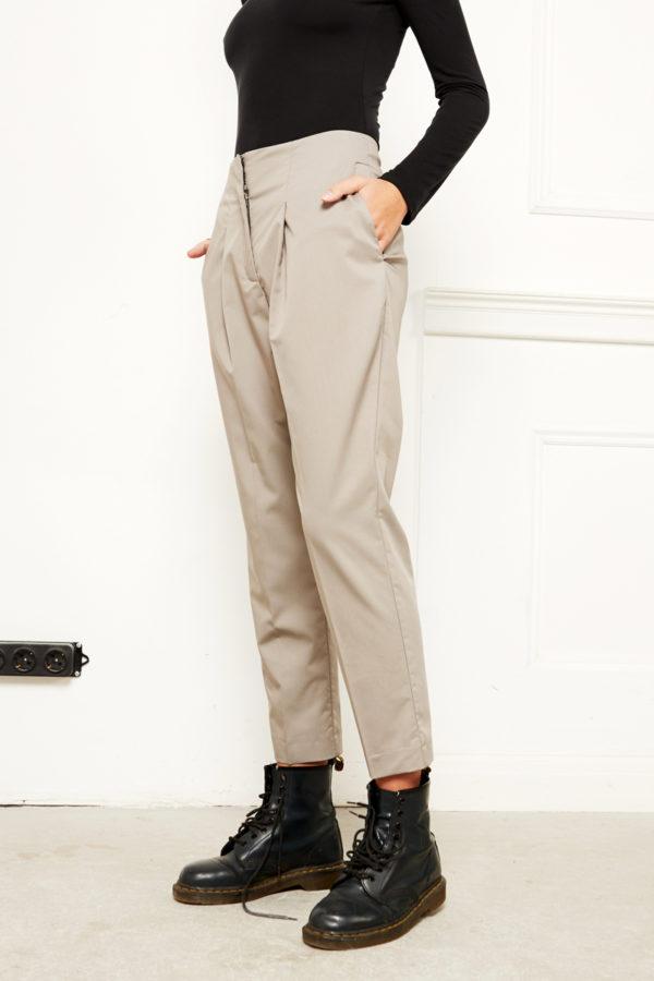 Узкие укороченные брюки серые