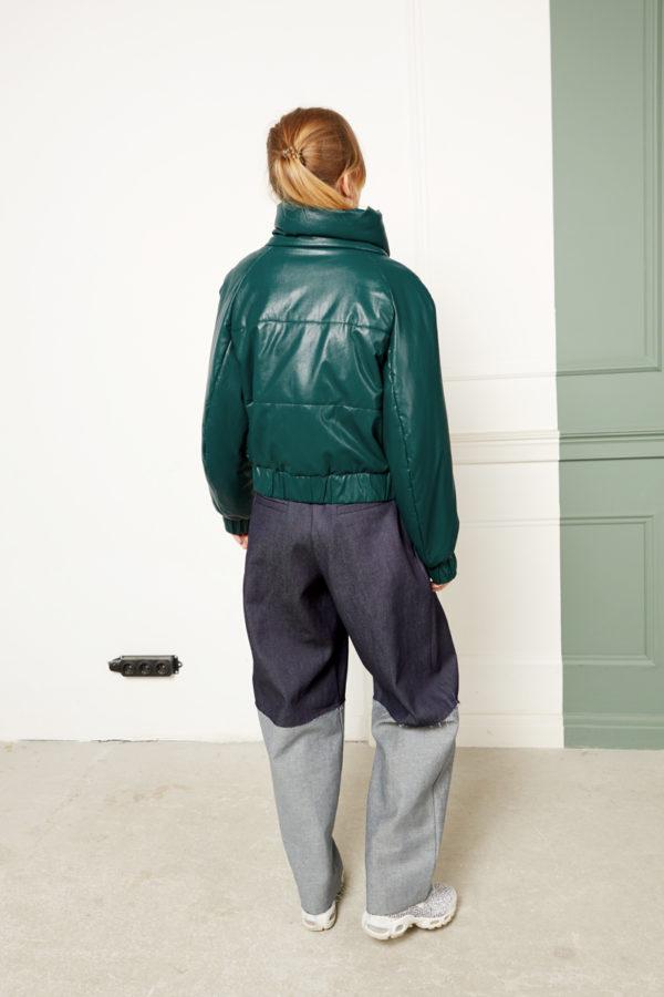 Короткий пуховик кожаный зеленый