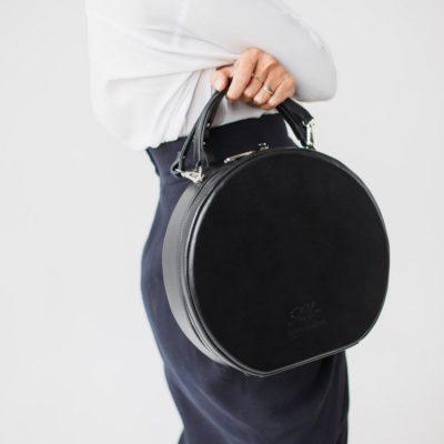 """Круглая сумка """"CHARLIE GRAY"""" чёрный жемчуг"""