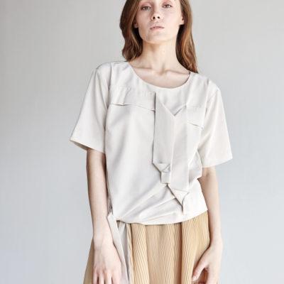 Блуза с лентами оригами светлая