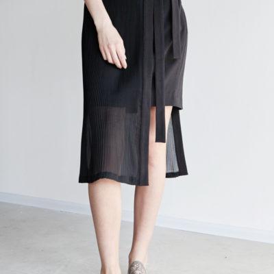 Двухслойная юбка с плиссировкой черная