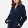 Зимнее длинное синее пальто из альпака