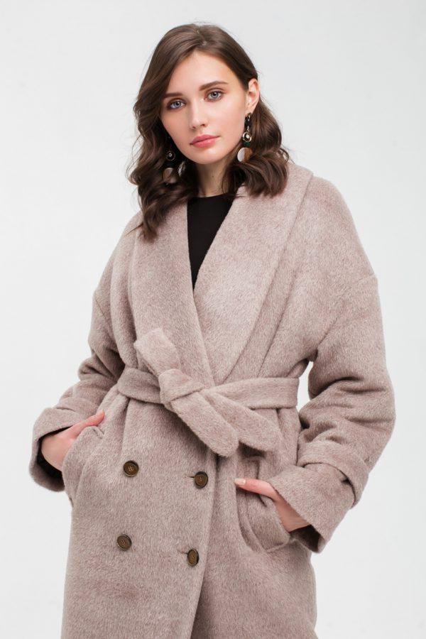 Зимнее длинное пальто кофе из альпаки