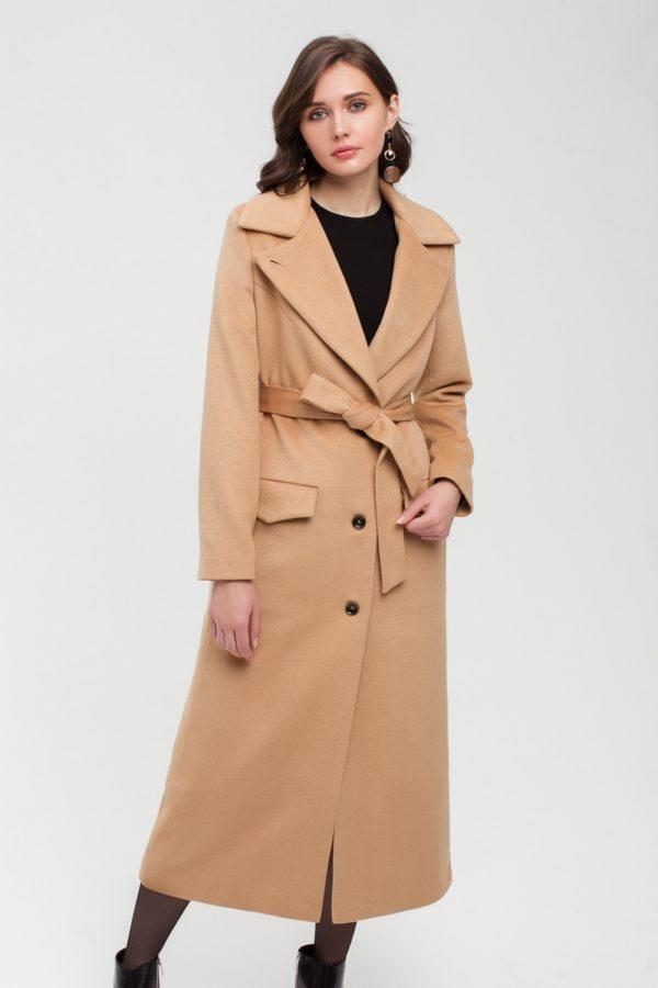 Дизайнерское длинное пальто бежевое