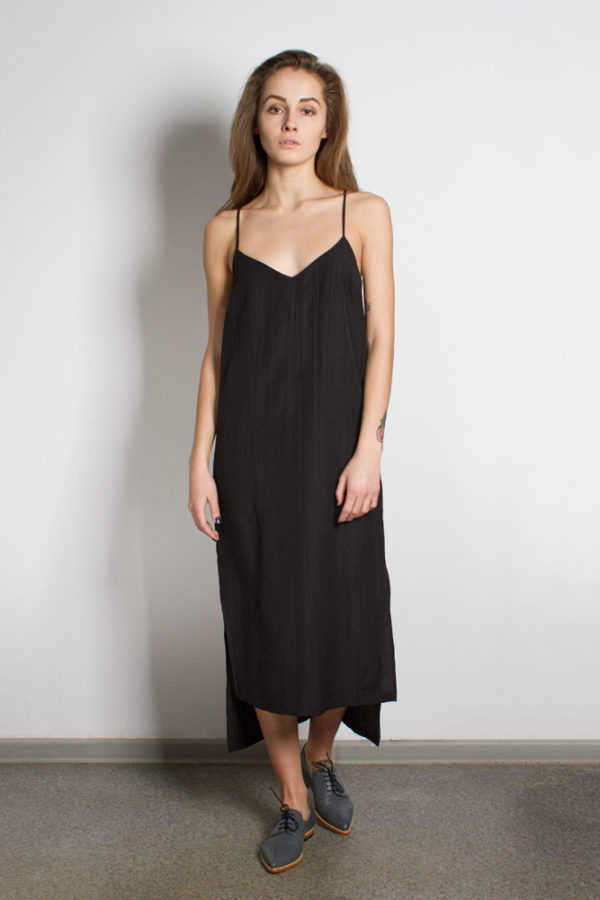 Платье комбинация черное