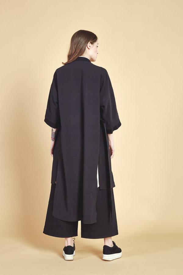 Пальто кимоно черное