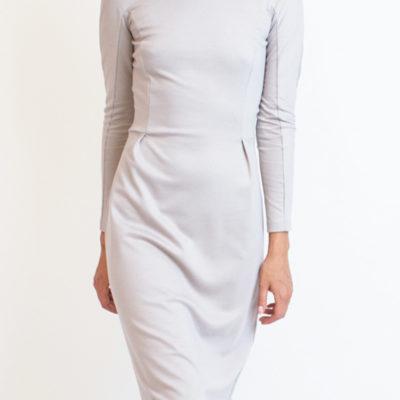 Трикотажное платье с длинным рукавом светло-серое
